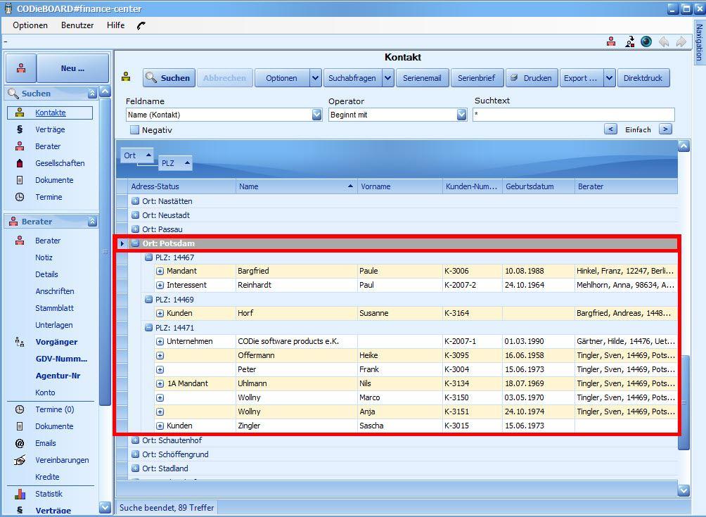 Einfaches gruppieren von Spalten in der Versicherungsmaklersoftware