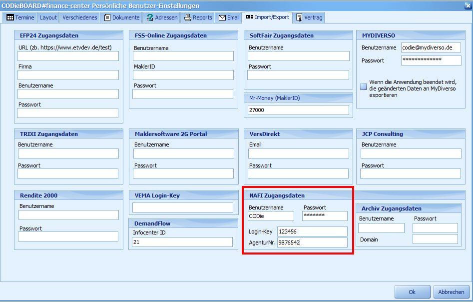 Aus der Versicherungsmaklersoftware kann nach NAFI exportiert werden via Schnittstelle
