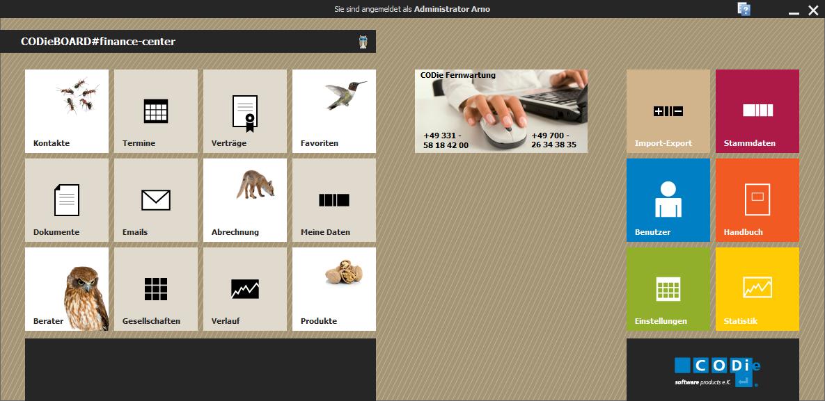Startbildschirm des Maklerverwaltungsprogrammes CODieBOARD# finance-center