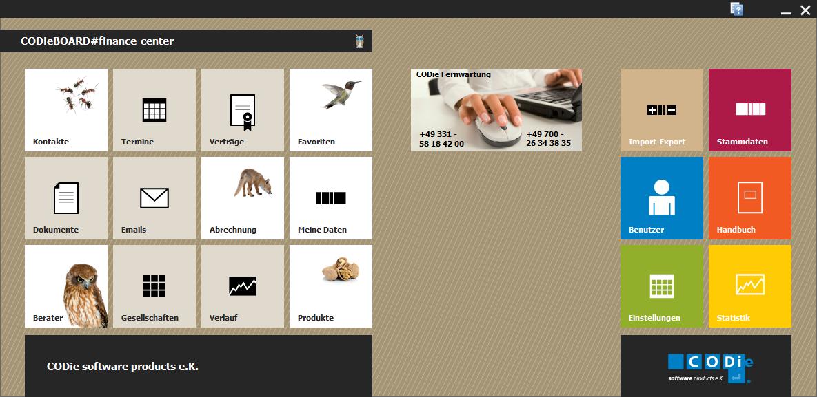 Startbildschirm des Maklerverwaltungsprogramms CODieBOARD#finance-center