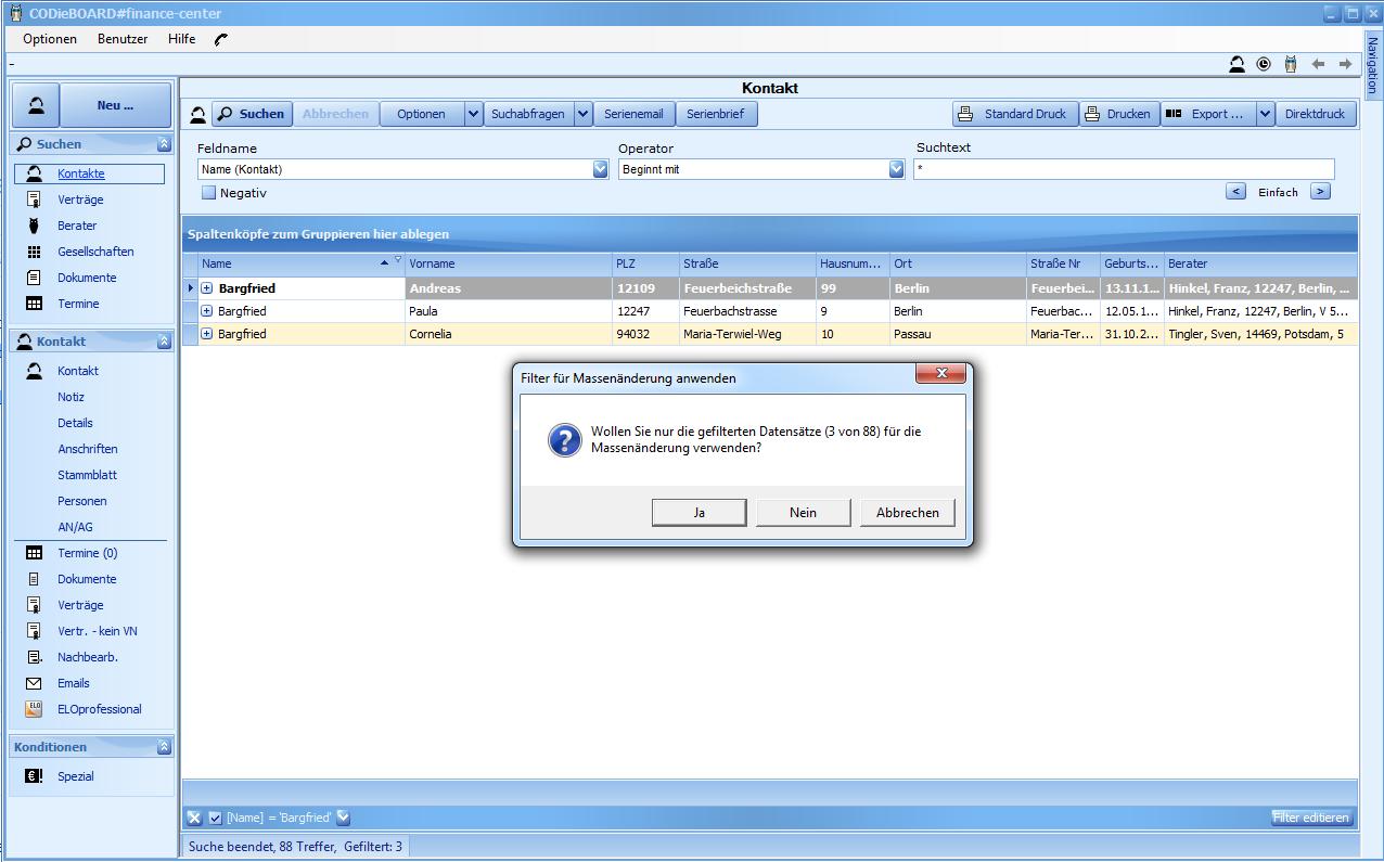 In CODie's Maklersoftware die Massenänderungsfunktion von gefilterte Datensaätze durchführen