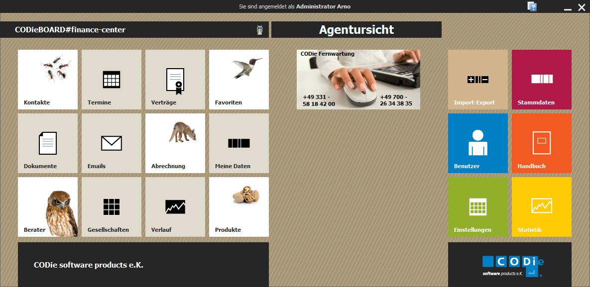 Kennzeichnung des Agentursichtmoduls auf dem Startbildschirm