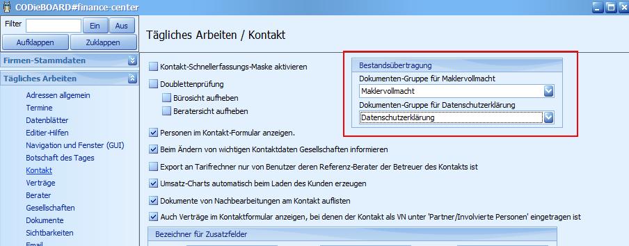 Bestandsübertragung: Dokumentengruppen