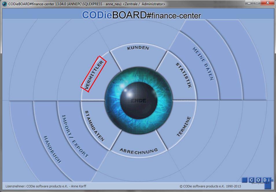 Hauptmaske CODieBOARD# finance-center: Vermittler